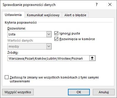 Lista rozwijana w Microsoft Excel