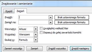 Excel - Znajdź i zamień