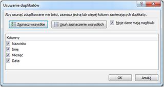 Excel - usuwanie duplikatów