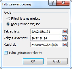 Excel - filtrowanie zaawansowane