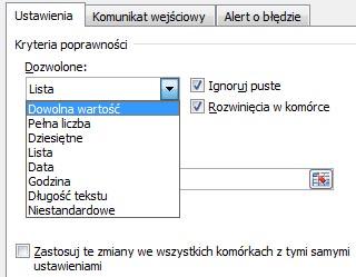 Excel - Poprawność danych
