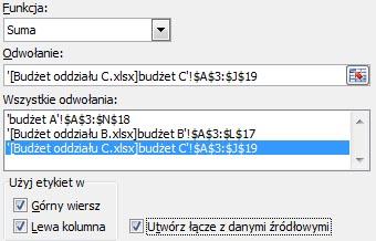 Excel - konsolidacja danych
