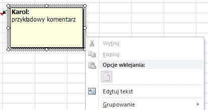 Excel - komentarze