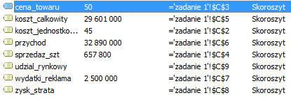 Excel - Definiowanie nazw