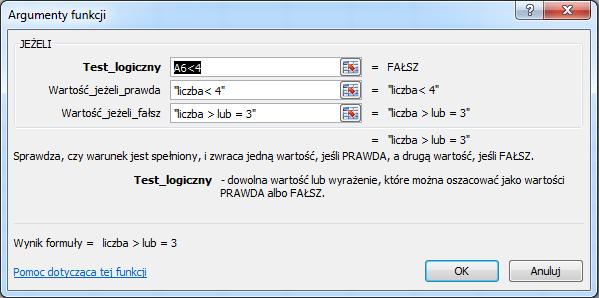 Excel - Funkcja JEŻELI