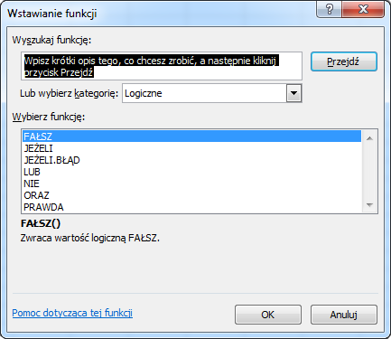 Excel - Wstawianie funkcji