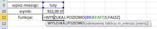 Excel - Funkcja WYSZUKAJ.POZIOMO