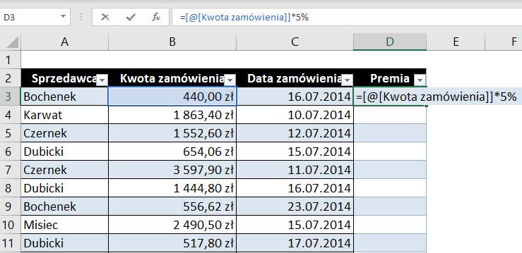 Narzędzie Tabela w MS Excel