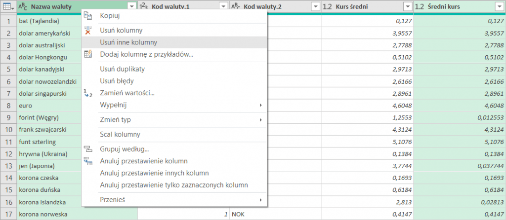 Kursy walut Excel Power Query